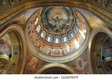 MOSCOW, RUSSIA - June 28, 2018 Interior decoration of Cathedral of Christ the Savior with a spectacular ceiling of its central dome (cupola).