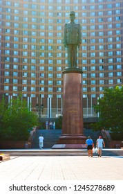 MOSCOW, RUSSIA - JUNE 29, 2013: The monument to General Charles de Gaulle in front of the Cosmos Hotel, located in Mira Avenue, Ostankinsky district, on June 29 in Moscow.