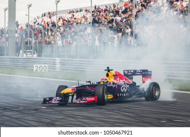 Moscow, Russia - June 29, 2014: Daniil Kvyat driver of Red Bull Racing at World Series by Renault stage at Moscow Raceway