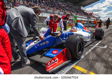 Moscow, Russia - June 29, 2014: Sergey Sirotkin driver of Fortec Motorsports on start grid before the World Series by Renault race at Moscow Raceway