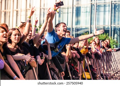 MOSCOW, RUSSIA - JUNE 29, 2014 - Visitors at Park Live festival at at the National Exhibition Centre on June 29, 2014 in Moscow, Russia