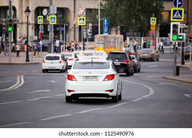MOSCOW, RUSSIA - JUNE 29, 2018: Yandex taxi on Bolshaya Nikitska