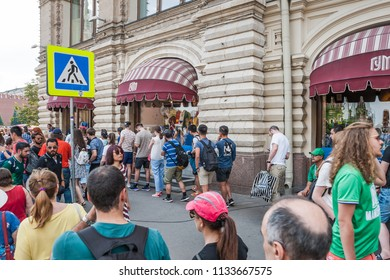 MOSCOW, RUSSIA - June 29, 2018: The 2018 FIFA World Cup. The queue to the sportswear shop Bosco in GUM during the Mundial on Ilyinka street