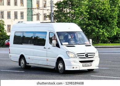 Moscow, Russia - June 3, 2012: Passenger van Mercedes-Benz Sprinter in the city street.