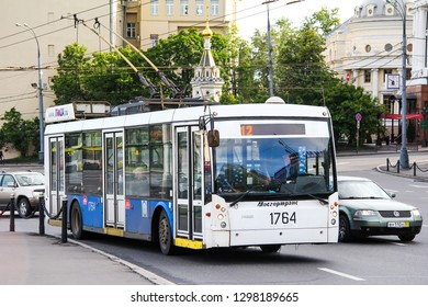 Moscow, Russia - June 3, 2012: Modern trolleybus Trolza 5265 Megapolis in the city street.