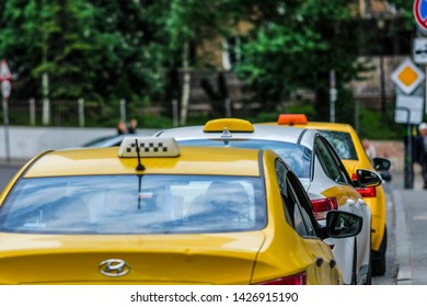 Moscow, Russia - June, 3, 2019: taxi in a center of Moscow