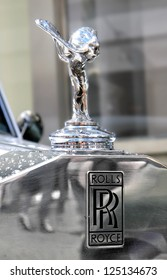 MOSCOW, RUSSIA - JUNE 3: Spirit of Ecstasy is the bonnet ornament on the english car Rolls-Royce Phantom competed at the annual L.U.C. Chopard Classic Weekend Rally on June 3, 2012 in Moscow, Russia.