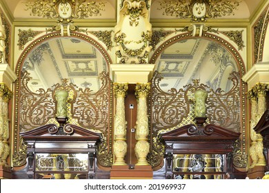MOSCOW, RUSSIA - JUNE 30, 2014:Interior of Eliseevsky store in Moscow. Famous grocery store Eliseevsky, opened long time ago in 1901, is considered to be first one in Moscow till now