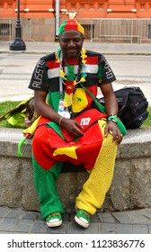 MOSCOW, RUSSIA - JUNE 30, 2018: 2018 FIFA World Cup. Fan from Cameroon in center of Moscow
