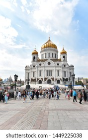 Moscow, Russia - JUNE 30, 2019: Cathedral of Christ the Savior with tourists in Moscow, Russia