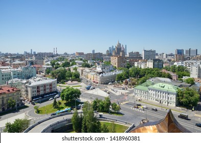 Moscow, Russia - June 4, 2019: Summer view of the streets of Moscow from the observation deck of the Cathedral of Christ the Savior