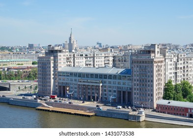 Moscow, Russia - June 4, 2019: Summer view of the Bersenevskaya embankment and the House on the embankment (Estrada theatre)