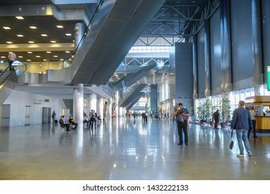 Moscow, Russia - June, 5, 2019: interior of Moscow Crocus Exhebitional Center