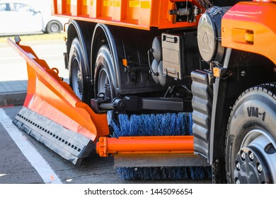 Moscow, Russia - June, 5, 2019: Closeup image of part of road sweeper transportation