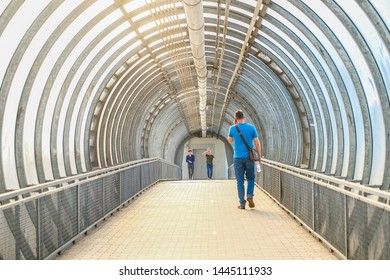 Moscow, Russia - June, 5, 2019: Interior of a pedestrian bridge in Moscow, Russia