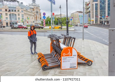 MOSCOW, RUSSIA - JUNE 6, 2018: Delisamokat - New electric kick scootersharing platform in Moscow.