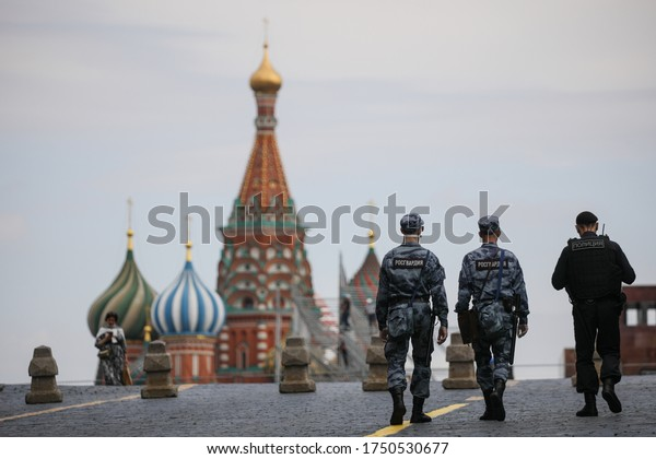 Moscow / Russia June 6, 2020: Police, Rosgvardiya patrol Red square during the coronovris pandemic