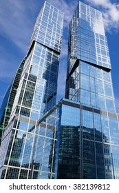 """MOSCOW. RUSSIA. June 7, 2015. The two towers of the International Business Center """"Moscow City"""". The complex """"City of Capitals"""""""