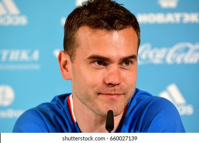MOSCOW, RUSSIA - JUNE 8, 2017. Russian international goalkeeper Igor Akinfeev at a press conference in Balchug Kempinsky Hotel before international friendly Russia vs Chile in Moscow.