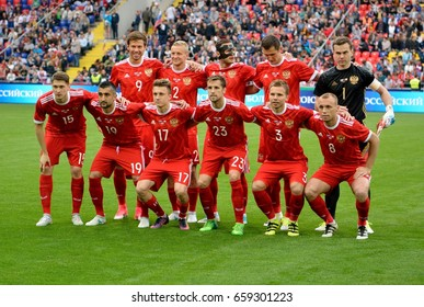 MOSCOW, RUSSIA - JUNE 9, 2017. Russian international football team before test match against Chile in Moscow.