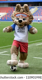 Moscow, Russia - June 9, 2018. Zabivaka, the 2018 FIFA World Cup Official Mascot, on a stadium in Moscow.