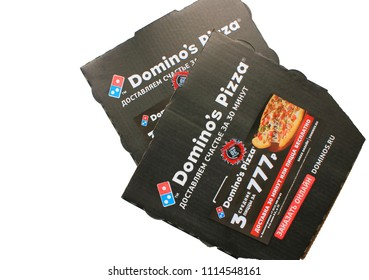 MOSCOW, RUSSIA - JUNE 9, 2018: Domino's Pizza Delivery Box Isolated on White Background. Domino's is an American Pizza Restaurant Chain, Operating in Over 80 Countries. Domino's Pizza Take Out Boxes.