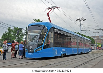 MOSCOW, RUSSIA - JUNE 9 - Modern Vityaz-M tram, produced by Metrowagonmash and PK Transportnye Systemy, serving the Moscow tramway network operated by Mosgortrans on June 9, 2017 in Moscow, Russia