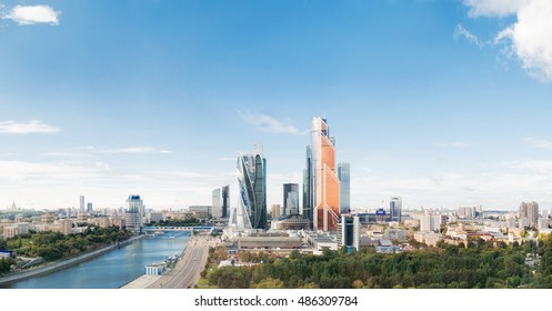 MOSCOW, RUSSIA - Large panorama view of Moscow City buildings, modern business office center on Moscow-river bank.