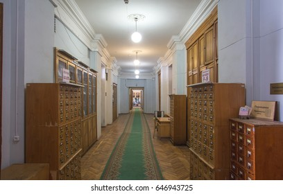 Moscow, Russia, Lebedev Physical Institute, corridor along the library, architecture, wooden boxes, September 15, 2015
