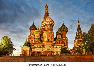 MOSCOW, RUSSIA - Magnificent view from Vasileyvesky Spusk (Basil's Slope) on the Moscow's most famous artistic work of architecture, Saint Basil's Cathedral in Red Square.