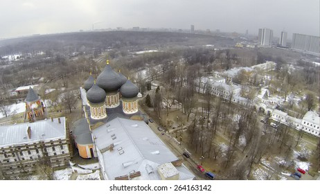 MOSCOW, RUSSIA - MAR 02, 2015: Aerial view of the church of the Protection of the Holy Mary.
