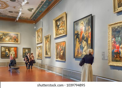 Moscow, Russia - March 01, 2017:  Hall in Pushkin State Museum of Fine Arts, it is largest museum of European art
