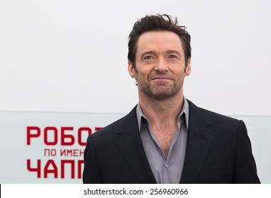 """MOSCOW, RUSSIA, MARCH, 01: Actor Hugh Jackman. Photo-call of the movie """"Chappie"""", March, 01, 2015 at RITZ HOTEL in Moscow, Russia"""
