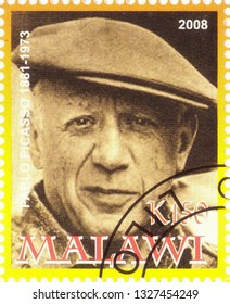 MOSCOW, RUSSIA - MARCH 02, 2019: A stamp printed in Malawi shows Pablo Picasso, series, circa 2008