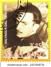 MOSCOW, RUSSIA - MARCH 02, 2019: A stamp printed in Malawi shows Salvador Dali, series, circa 2008