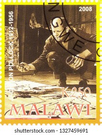 MOSCOW, RUSSIA - MARCH 02, 2019: A stamp printed in Malawi shows Jackson Pollock, series, circa 2008
