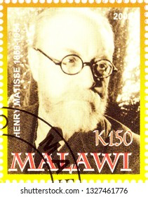 MOSCOW, RUSSIA - MARCH 02, 2019: A stamp printed in Malawi shows Henry Matisse, series, circa 2008