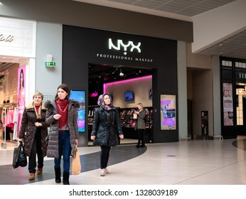 Moscow, Russia - March 02, 2019: People near the NYX Professional Makeup Store