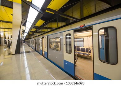 MOSCOW, RUSSIA- MARCH 03, 2018: Shelepikha-- is a station on the Bolshaya Koltsevaya and Kalininsko-Solntsevskaya lines of the Moscow Metro, Russia. It opened on 26 February 2018