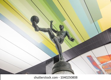 MOSCOW, RUSSIA- MARCH 03, 2018: Metro station CSKA, Moscow, Russia. It opened on 26.02 2018. The station lobby includes sculptures of well-known CSKA athletes: V. Bobrov, D. Denisov, and V. Khryapa