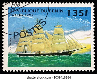 """Moscow, Russia - March 06, 2018: A stamp printed in Benin shows ancient sailing ship (clipper) """"Torrens"""", series """"Ships"""", circa 1996"""
