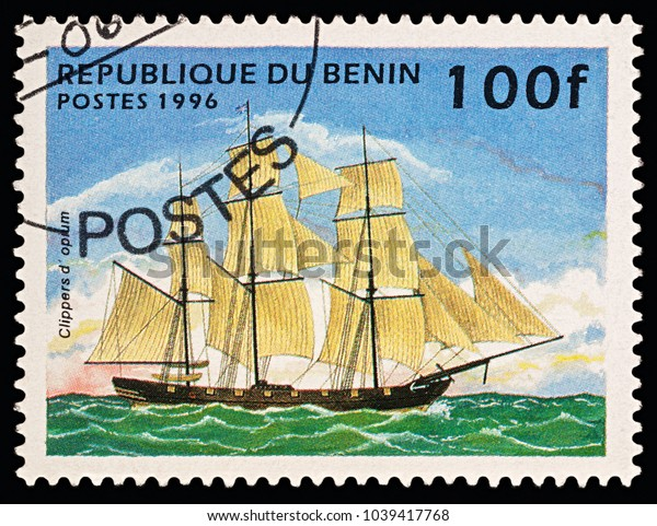 """Moscow, Russia - March 06, 2018: A stamp printed in Benin shows old sailing ship (opium clipper), series """"Ships"""", circa 1996"""