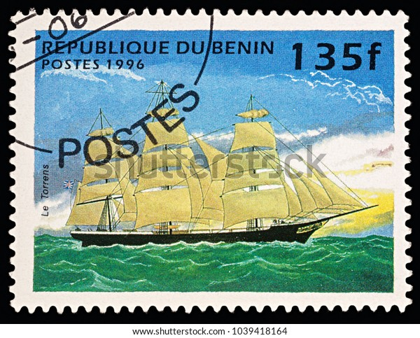 "Moscow, Russia - March 06, 2018: A stamp printed in Benin shows ancient sailing ship (clipper) ""Torrens"", series ""Ships"", circa 1996"