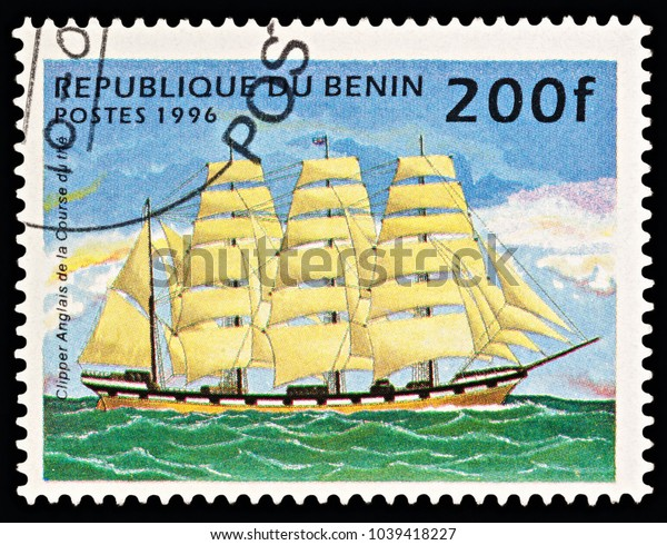 """Moscow, Russia - March 06, 2018: A stamp printed in Benin shows English Tea Clipper (sailing ship), series """"Ships"""", circa 1996"""