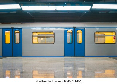 MOSCOW, RUSSIA - MARCH 09, 2018: Subway train at metro station CSKA