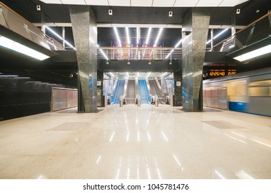 MOSCOW, RUSSIA - MARCH 09, 2018: Interior of metro station Petrovsky Park