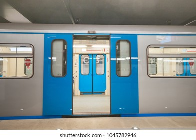 MOSCOW, RUSSIA - MARCH 09, 2018: Subway train at metro station Petrovsky Park