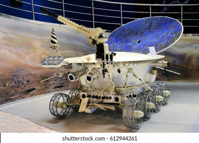 MOSCOW, RUSSIA - March 1, 2013 Lunokhod 1 (Moon Walker One) - First Unmanned Lunar Rovers in Memorial Museum of Cosmonautics at VDNKh. The first of two unmanned lunar rovers landed on the Moon by USSR