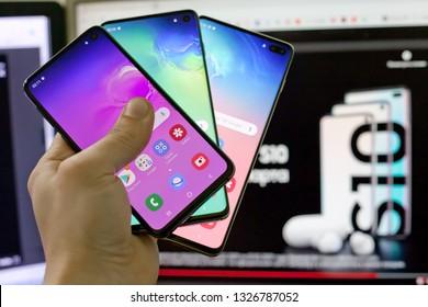 Moscow, Russia - March 1, 2019: Samsung SM-G970F Galaxy S10e, SM-G973F Galaxy S10, SM-G975F Galaxy S10+.