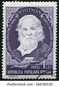 MOSCOW, RUSSIA - MARCH 10, 2013: A stamp printed in Romania shows Walter Walt Whitman (1819-1892), american poet, series Portraits, 1955